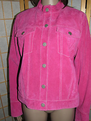 $ CDN49.89 • Buy DANIER L Hot Pink Genuine Leather Long Sleeve 4 Pockets Quality Boutique Jacket