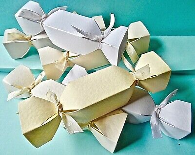 6 SMALL Cracker Favour Box Hammer / Pearl Christmas CHECK SIZE MultiBuy Discount • 2.65£