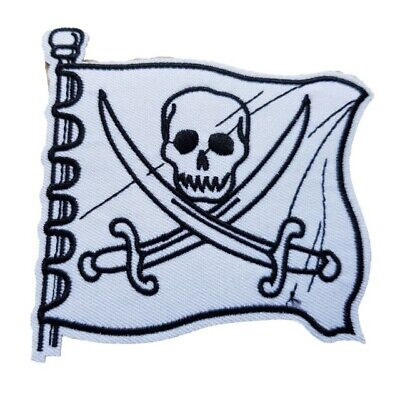 White Skull And Crossbones Pirate Flag Iron On Patch Sew On Transfer Fancy Dress • 2.39£