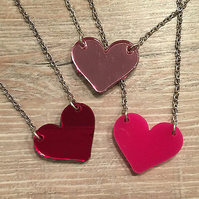 Heart Necklace. Cool, Funky, Laser Cut. Valentine, Girlfriend Present • 7£