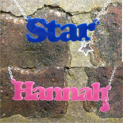 Personalised Name Necklace With Dangling Charm. Laser Cut Acrylic, Custom Design • 11.20£