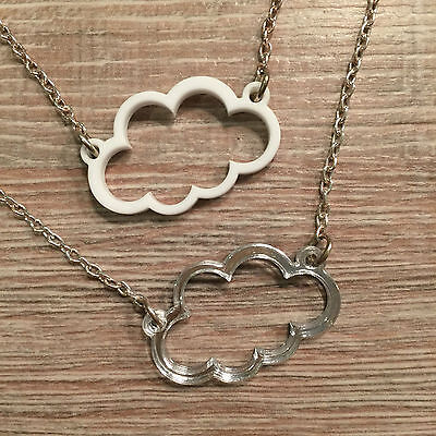 Silver Lining Cloud Necklace. Cool, Funky, Laser Cut.  • 7£