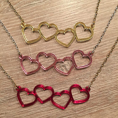 Linked Hearts Necklace. Cool, Funky, Laser Cut. Valentine, Girlfriend Present • 7£