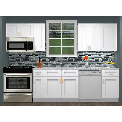 $1289 • Buy Lily Ann Cabinets 10 Foot Run Birch Wood Kitchen Cabinets Colorado White Shaker