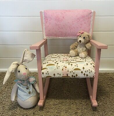 Children's Vintage Wooden Rocking Chair Bedroom Nursery Playroom • 55£
