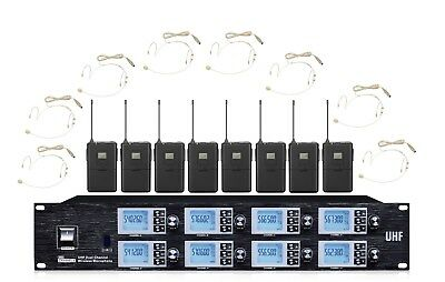 8 Wireless Microphone System UHF Headset Microphone Cordless Headworn Mic Set • 395.54£