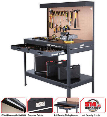 $278.95 • Buy Work Bench With Light PowerStrip Table Reloading Machine Shop Garage Hobby Steel