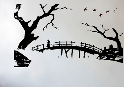 Japanese Warrior Bridge Vinyl Silhouette For Bedroom Or Living Room Vinyl Decal • 15.90£