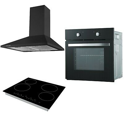 Cookology Black Single Electric Fan Oven, Touch Ceramic Hob & Cooker Hood Pack • 354.99£