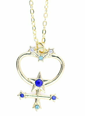 £3.79 • Buy Gold Tone Planet Mercury Symbol Pendant Necklace With Crystal