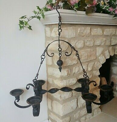 Gothic Vintage Wrought Iron Candelabra Ceiling Chandelier Candle Holder 2 Availa • 75£