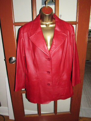 $ CDN69.89 • Buy DANIER XL Red Soft Leather Long Sleeve Buttons Up Boutique Fall Jacket Super New
