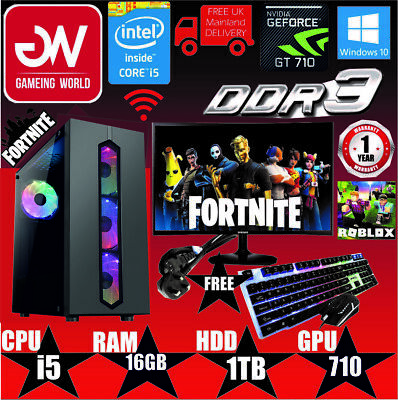 Fast Gaming Computer PC Bundle Intel Quad Core I5 16GB 1TB GT710 2GB 19  MONITOR • 278.99£