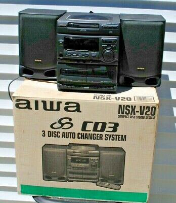 $99.99 • Buy Used Aiwa NSX-V20 Speaker System 3 Disc Changer With Original Packing And Box