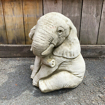 £34.99 • Buy Large Stone Outdoor Garden African Elephant Trunk Down Statue Ornament Sculpture