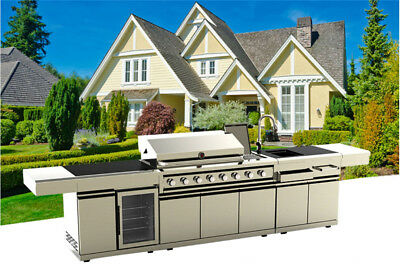 NEW Stainless Steel Outdoor BBQ Kitchen Island Grill W/ Sink + Wine Cooler Combo • 5,999$