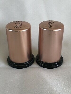 COLOR CRAFT Aluminum Copper Toned Vtg Salt Pepper Shakers Set 2  U.S.A. • 8.79$
