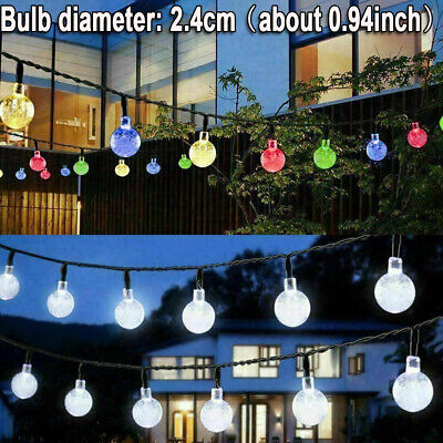 Solar String Lights Outdoor 30 LED 20FT Power Waterproof Crystal Ball Fairy Twin • 7.39£