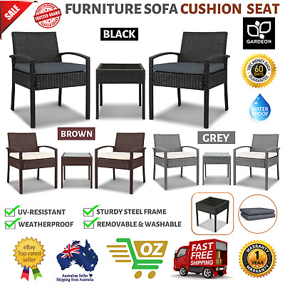 AU176.52 • Buy 3 Piece Outdoor Setting Furniture Sofa Cushion Seat Rattan Chair Glass Table Top