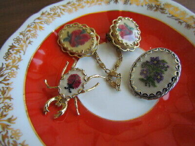 $ CDN29.99 • Buy Vintage LOT Retro Petite Point Floral  Bug Pins Brooches Sweeter Clip Wearable