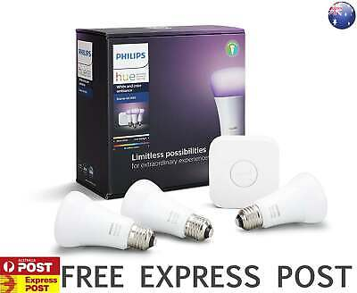 AU229 • Buy Philips Hue White And Colour Ambiance Smart Bulb Starter Kit - Edison Screw E27