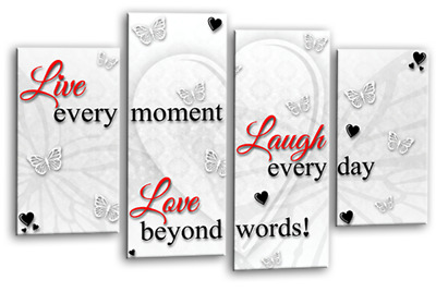 Love Live Laugh Quote Canvas Wall Art Picture Print White Red Grey Split 4 Panel • 29.99£