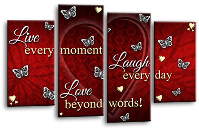 £29.99 • Buy GREY CREAM RED WALL CANVAS ART LIVE LOVE WHITE HOME LAUGH SPLIT PICTURE 44x27