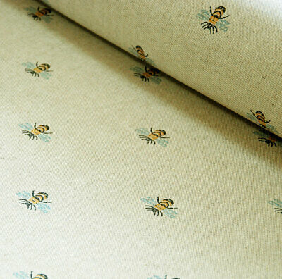 French Linen Oilcloth Bee Print Machine Washable Table Cloth • 9£