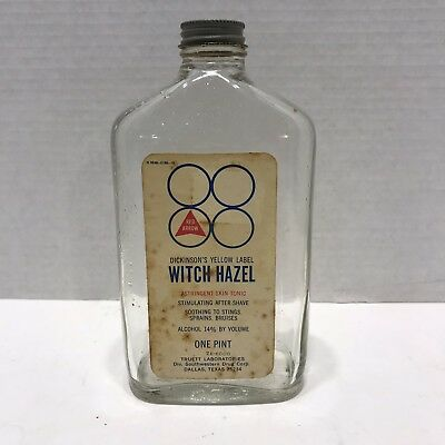 $11.01 • Buy Vintage 1970's Dickinson's Witch Hazel Glass Bottle With Metal Lid Advertising