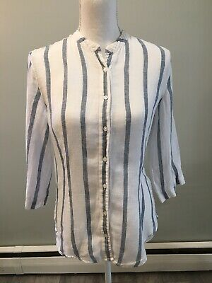 $27 • Buy Island Company Linen Blouse Striped 3/4 Sleeve Button Down Collarless Small