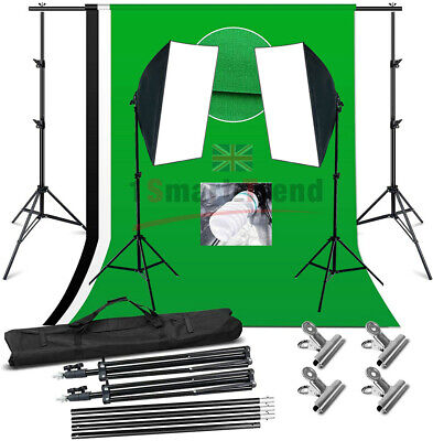 Studio 2X135W Lighting Light Stand Softbox Video KIT 3X Backdrop Support Screen • 62.59£