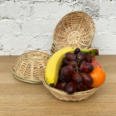 Set Of Oval Woven Bamboo Fruit Snacks Bread Small Wicker Storage Gift Baskets • 10.99£