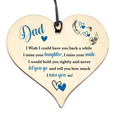 £3.99 • Buy #1145 DAD Have You Back Wood Love Heart Sign Memorial Birthday Gift Grave