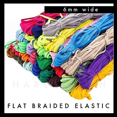 AU8.99 • Buy Colourful Flat Braided Elastic 6mm Per 5 Metres Band Colour Red Pink Blue Green