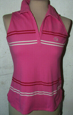 Girls Tennis Sergio Tacchini White And Pink  Sleeveless Top Size 34inch Ch • 6.99£