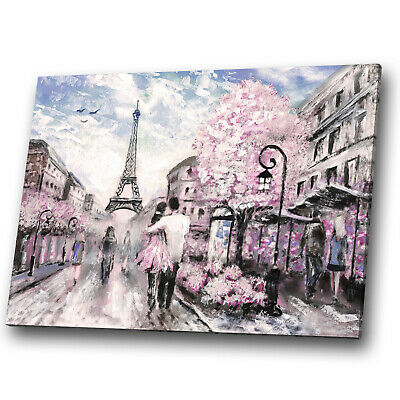 Canvas Print Framed Kitchen Wall Art Picture Eiffel Tower Paris Love Pink Blue • 34.99£