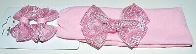 NEW Pink Metallic Hair Clips With Matching Bow Headband Bandeaux Childrens • 3.49£