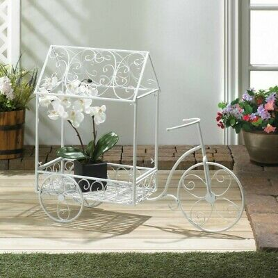Rustic Bicycle Tricycle Flower Cart Plant Stand Distressed White Iron Metal  • 114.95$