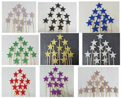 £2.99 • Buy 12 Glitter Stars Cupcakes Toppers Party Decoration Cup Cake Topper  Food Flags