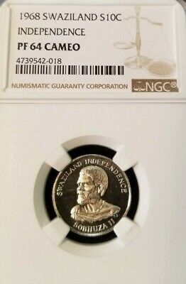 $45 • Buy 1968 Swaziland Silver 10 Cents Independence Ngc Pf 64 Cameo Nice Frosty Coin
