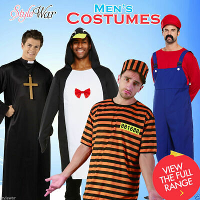 Mens Prisoner Zombie Vampire Hero Boys Stag Do Fancy Dress Party Outfit Costumes • 17.99£