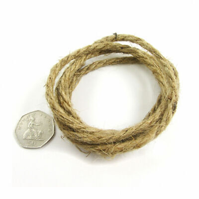 3.5mm NATURAL HIGH QUALITY JUTE ROPE *1m 5m 10m 25m 50m* STRONG BRAID UK SELLER • 1.69£