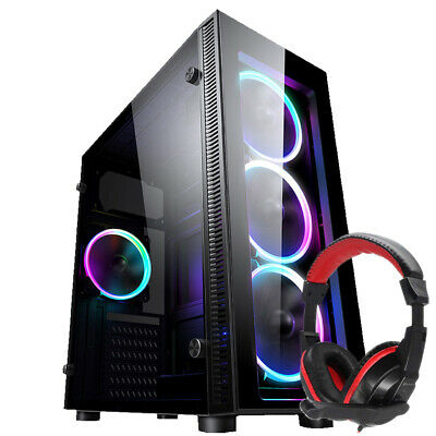 PC COMPUTER CASE ATX GAMING TEMPERED GLASS  IONZ KZ02+ Dynamode DH-500 Headset • 33.95£