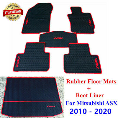 AU109.25 • Buy Rubber Waterproof Floor Mats & Boot Liner For Mitsubishi ASX 2010- 2021 Red Trim