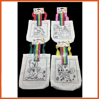 AU76.95 • Buy 24 X DESIGN YOUR OWN BAG KIT   Kids Art & Craft Colouring Project D.I.Y Fun Bag