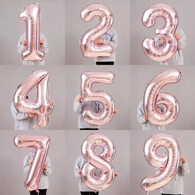 AU3.85 • Buy 40  Giant Rose Gold Foil Balloon Number 0, 1 To 9 Helium Jumbo Balloons
