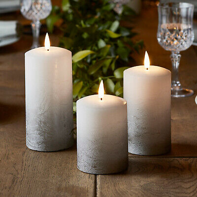 Set Of 3 Battery LED Flameless Grey Ombre Pillar Candles TruGlow™Timer Light4fun • 29.99£