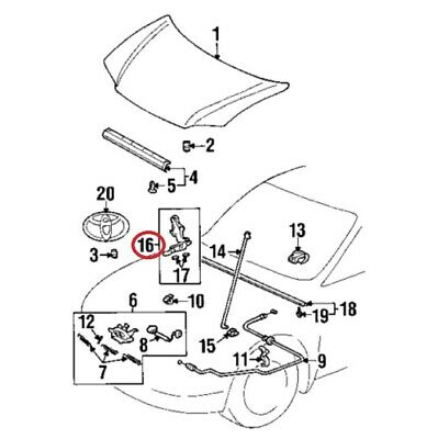 $35.17 • Buy For Toyota Genuine Hood Hinge Front Right 5341052010
