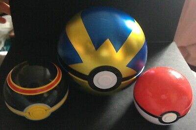 3 X Pokeball Bundle - 2 TOMY Pokemon Figures Luxury Ball + 1 Quick Ball Tin RARE • 10.45£