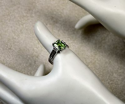 $ CDN24.95 • Buy Lia Sophia Ring Large Green Stone Claw Set Into Silver Tone Metal  Size 10  Sign